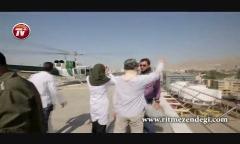 هلی کوپتر سواری میترا حجار در آسمان تهران + پشت صحنه سریال رهایی