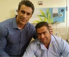 برادر رئیس جمهور از قهرمان پرورش اندام ایران عیادت کرد