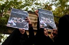 تجمع معترضان مقابل سفارت عربستان