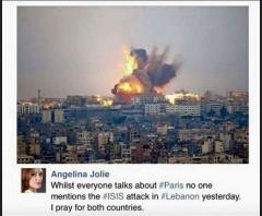 واکنش آنجلینا جولی به حوادث پاریس: «چرا کسی به حمله به لبنان اشاره نمیکند؟! برای هر دو کشور دعا میکنم»