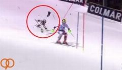 خوش شانس ترین اسکی باز هنگام سقوط دوربین پرنده جان سالم به در برد