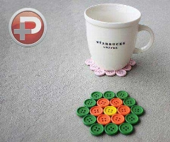 دکمه های ریز و رنگی، حتما یک روز به کار میان!!!/ زیر لیوانی های زیبا که آسان ساخته می شوند