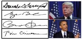 مقایسه امضای دونالد ترامپ و ۱۰ رئیسجمهور اخیر آمریکا
