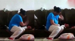 ویدیویی از تنبیه وحشیانه یک نوزاد با سیلی های دردناک مادرش