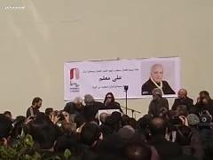 صحبتهای همسر علی معلم در مراسم تشییع پیکر او در خانه سینما