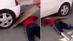 رد شدن چرخ خودرو از روی سر/مردی که قصد داشت در یک آزمایش خیابانی، رد شدن خودرو از روی بدن خود را به نمایش بگذارد دچار حادثه شد.