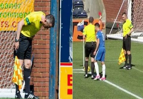 اخراج کمک داور توسط داور در مسابقه فوتبال!
