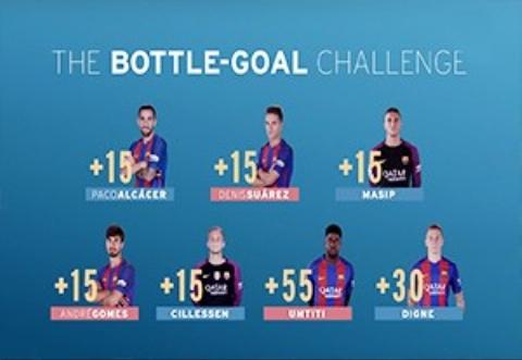 چالش جالب  هدفگیری بطری بازیکنان بارسلونا
