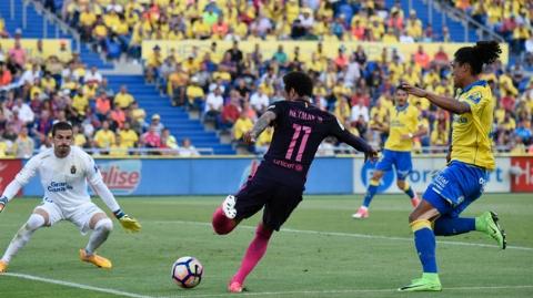 لاس پالماس ۱ - ۴ بارسلونا؛ پیروزی کاتالان ها با هت تریک نیمار