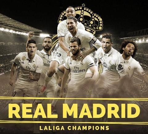 خوشحالی بازیکنان رئال مادرید پس از قهرمانی در لالیگا