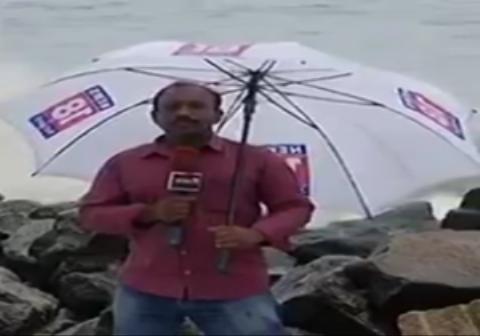 عاقبت پلاتو گفتن یک خبرنگار مقابل دریای طوفانی
