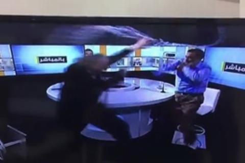 زد و خورد در برنامه زنده تلویزیون بر سر بحران سوریه