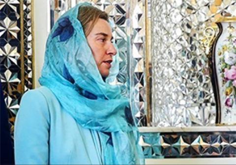 لحظه ورود موگرینی به فرودگاه امام خمینی (ره)