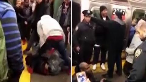 سیلی یک مرد به یک زن غریبه مترو را به هم ریخت + فیلم
