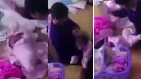 لحظه تلخ کتک زدن نوزاد توسط پرستارخانگی/فیلم