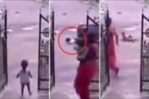 لحظه وحشتناک زیر گرفتن دختر خردسال توسط خودروی عبوری+فیلم