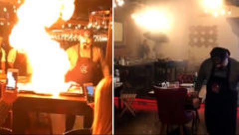 اتفاق عجیب هنگام هنرنمایی سرآشپز یک رستوران سرشناس+فیلم