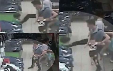 دوربین مداربسته فروشگاهی از رفتار وحشیانه یک مرد با دختر دو ساله اش فیلمی وحشتناک گرفت